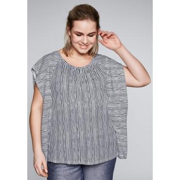 Oversized-Shirt mit Streifendruck, marine-weiß, Gr.44/46-56/58