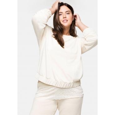 Oversized-Sweatshirt mit Gummibund, beigefarben, Gr.40/42-56/58