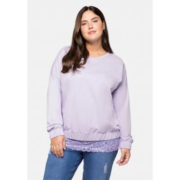 Oversized-Sweatshirt mit Gummibund, hellflieder, Gr.40/42-56/58