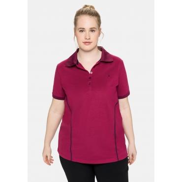 Poloshirt in Piqué-Qualität, mit Teilungsnähten, himbeere, Gr.40/42-56/58