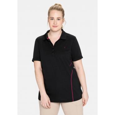 Poloshirt in Piqué-Qualität, mit Teilungsnähten, schwarz, Gr.40/42-56/58