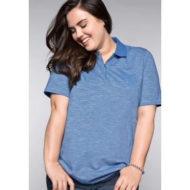 Poloshirt mit Reißverschluss und Seitenschlitzen, azurblau, Gr.44/46-56/58