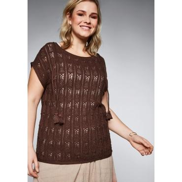 Pullover im Ajourstrick mit Bindeband, nussbraun, Gr.44/46-56/58