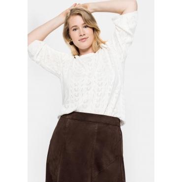 Pullover im Ajourstrick, mit schmaler Rüsche, offwhite, Gr.40/42-56/58