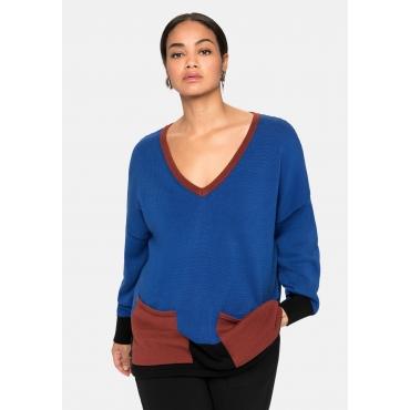 Pullover im Colourblocking, mit Taschen vorn, royalblau, Gr.40/42-56/58