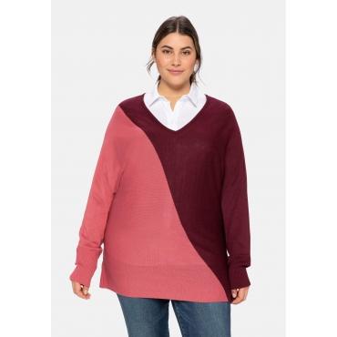 Pullover im Colourblocking, mit Fledermausärmeln, weinrot, Gr.40/42-56/58
