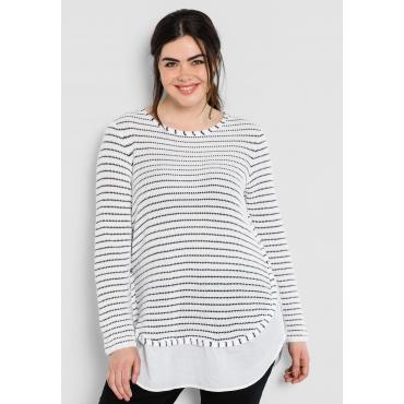 Pullover in 2-in-1-Optik, weiß-schwarz, Gr.40/42-56/58