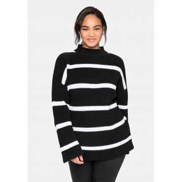 Pullover in Boxy-Form, mit Streifenmuster, schwarz-weiß, Gr.40/42-56/58