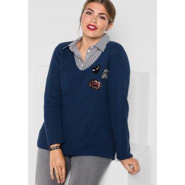 Pullover in breitem Rippstrick, rauchblau, Gr.40/42-56/58