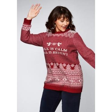 Pullover im Christmas-Look, karminrot, Gr.44/46-56/58