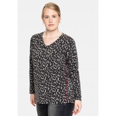 Pullover mit Animalprint und seitlicher Stickerei, schwarz gemustert, Gr.40/42-56/58