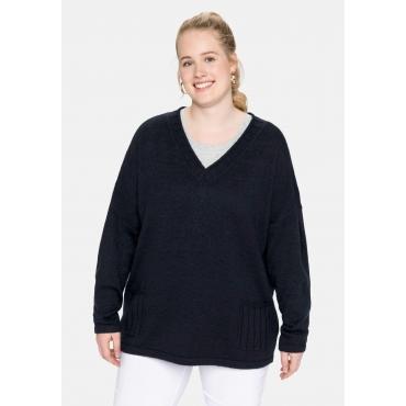 Pullover mit aufgesetzten Taschen, nachtblau, Gr.40/42-56/58