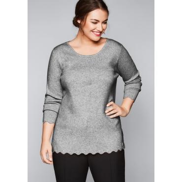 Pullover mit Bogenkante, grau meliert, Gr.44/46-56/58