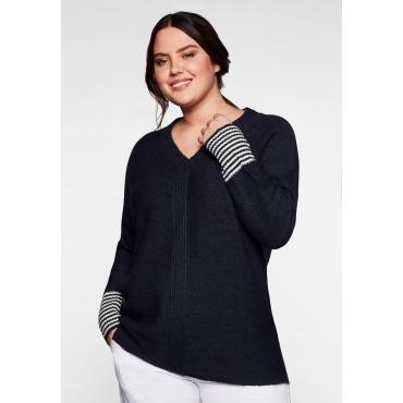 Pullover mit geringeltem Ärmelbündchen, nachtblau, Gr.40/42-56/58
