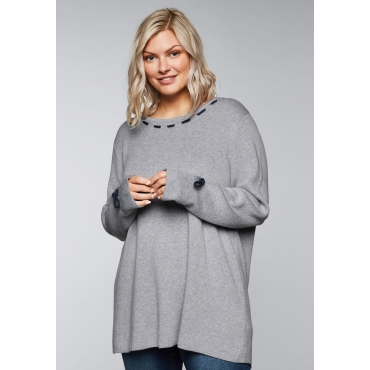 Pullover mit kontrastfarbenen Kordeldetails, grau meliert, Gr.44/46-56/58