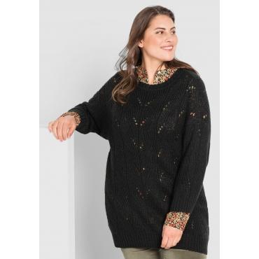 Pullover mit leichtem Lochstrick, schwarz, Gr.44/46-56/58