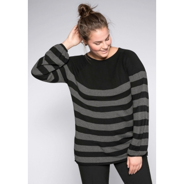 Pullover mit leichten Ballonärmeln, grau-schwarz, Gr.44/46-56/58