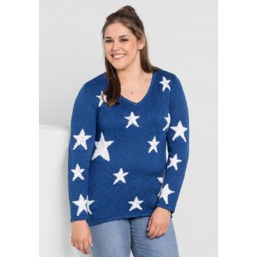 Pullover mit Sternenmuster, indigo-weiß, Gr.40/42-56/58