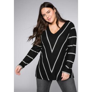 Pullover mit Streifen und V-Ausschnitt, schwarz-grau, Gr.44/46-56/58