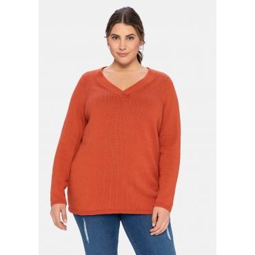 Pullover mit V-Ausschnitt und breiter Blende, rostrot, Gr.40/42-56/58