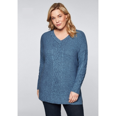 Pullover mit V-Ausschnitt und Zopfmuster, blau, Gr.44/46-56/58