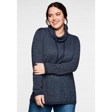 Pullover mit weitem Kragen, in melierter Optik, nachtblau, Gr.40/42-56/58