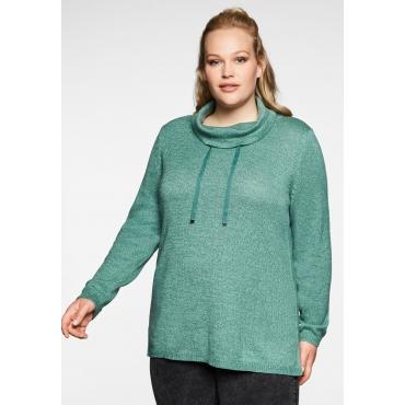 Pullover mit weitem Kragen, in melierter Optik, opalgrün, Gr.40/42-56/58