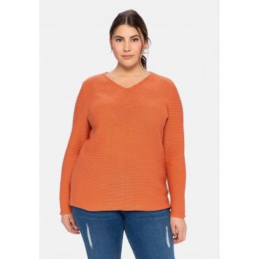 Pullover mit Zierknöpfen am V-Ausschnitt, kupferfarben, Gr.40/42-56/58