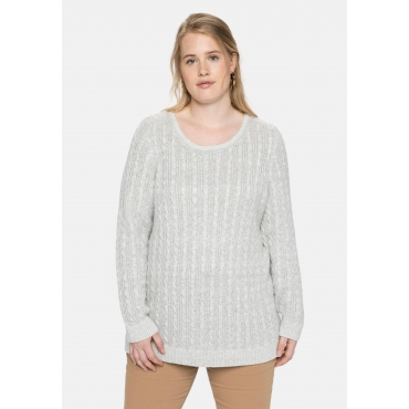 Pullover mit Zopfmuster, in flauschiger Qualität, hellgrau meliert, Gr.40/42-56/58