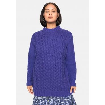 Pullover mit Zopfmuster, in weicher Qualität, violett, Gr.40/42-56/58