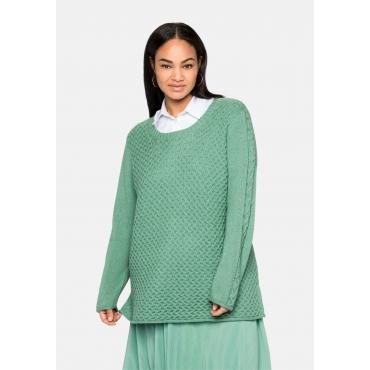 Pullover mit Zopfmuster, kuschelig weich, salbeigrün, Gr.40/42-56/58