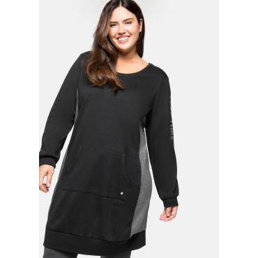 Relax-Sweatkleid mit Kängurutasche und Kontrastdetails, schwarz-grau, Gr.40/42-56/58