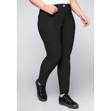 Schmale Bengalin-Stretch-Hose mit Gummizugbund, schwarz, Gr.44-58