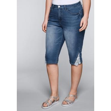 Schmale Bermuda Stretch-Jeans mit Spitze, blue Denim, Gr.44-58