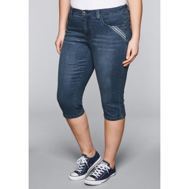 Schmale Capri Stretch-Jeans mit recyceltem Polyester, dark blue Denim, Gr.44-58