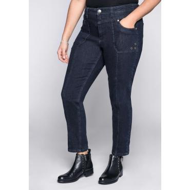 Schmale Cargo Stretch-Jeans mit Krempelfunktion, dark blue Denim, Gr.44-58