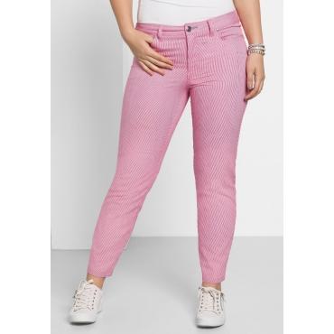 Schmale Hose mit Streifen, rosé-weiß, Gr.40-58