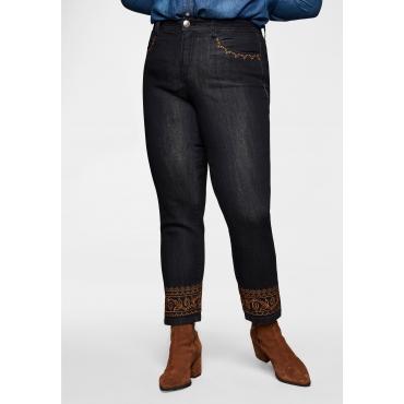Schmale Jeans mit Stickerei an Taschen und Saum, black Denim, Gr.40-58