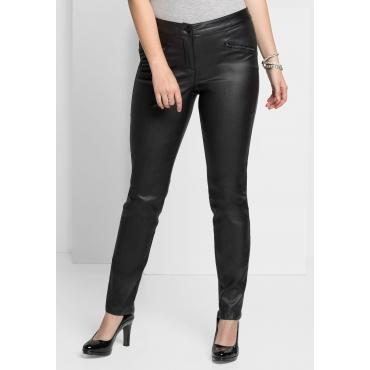 Schmale Stretch-Hose mit glänzender Beschichtung, schwarz, Gr.40-58