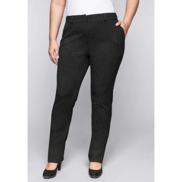Schmale Stretch-Hose mit Permanent-Bügelfalten, schwarz-weiß, Gr.44-58