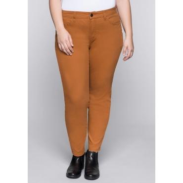 Schmale Stretch-Hose mit Taschen und Stickerei, cognac, Gr.44-58
