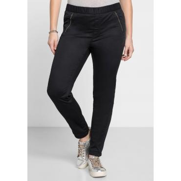 Schmale Stretch-Hose mit Zierreißverschlüssen, schwarz, Gr.40-58