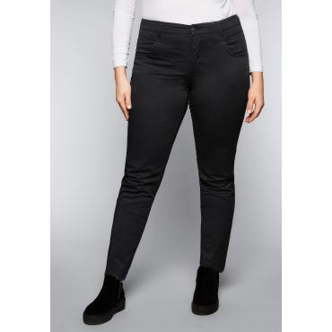 Schmale Stretch-Hose mit zwei Eingrifftaschen, schwarz, Gr.44-58