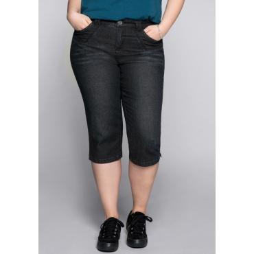 Schmale Stretch-Jeans-Capri, black Denim, Gr.44-58