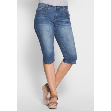Stretch-Jeans-Capri in schmaler, knielanger Form, blue Denim, Gr.40-58