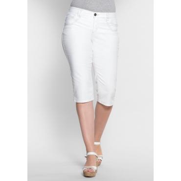 Schmale Stretch-Jeans-Capri, white Denim, Gr.40-58