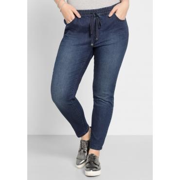 Schmale Stretch-Jeans in Ankle-Länge, dark blue Denim, Gr.40-58