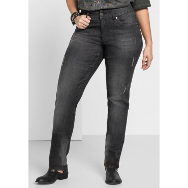 Schmale Stretch-Jeans KIRA, black Denim, Gr.22-104