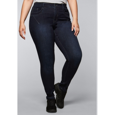 Schmale Stretch-Jeans KIRA in ultraflexibler Qualität, dark blue Denim, Gr.44-58