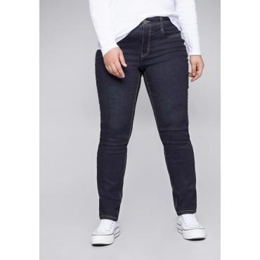 Jeans Slim fit mit kontrastfarbenen Nähten, dark blue Denim, Gr.44-58